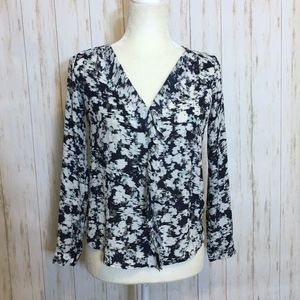 Ann Taylor Navy & White Ruffle Front Blouse
